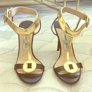 LIKE NEW Jimmy Choo Black & Gold T-Strap Heels